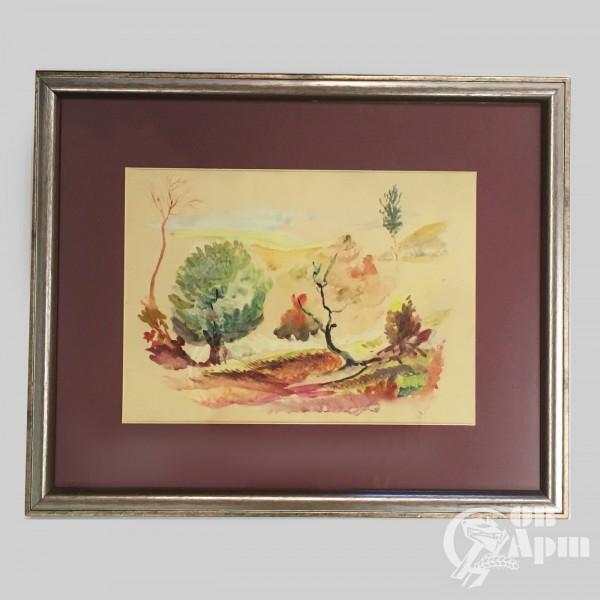 """Акварель """"Деревья"""","""