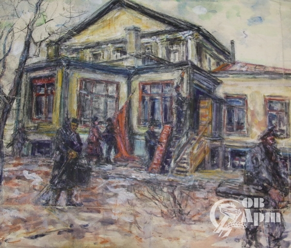 """Акварель """"Дом Аксакова на Арбате"""""""