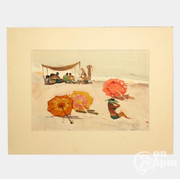 """Акварель """"Эшера. Пляж. Август"""""""
