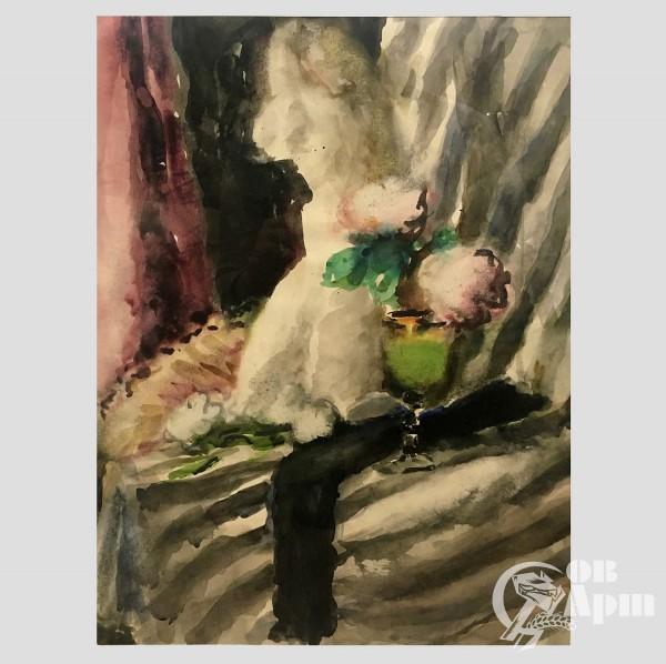 """Акварель """"Натюрморт с цветами и рюмкой"""""""