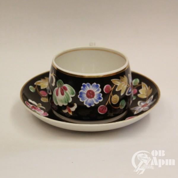 """Большая чайная пара """"Цветы на черном"""""""