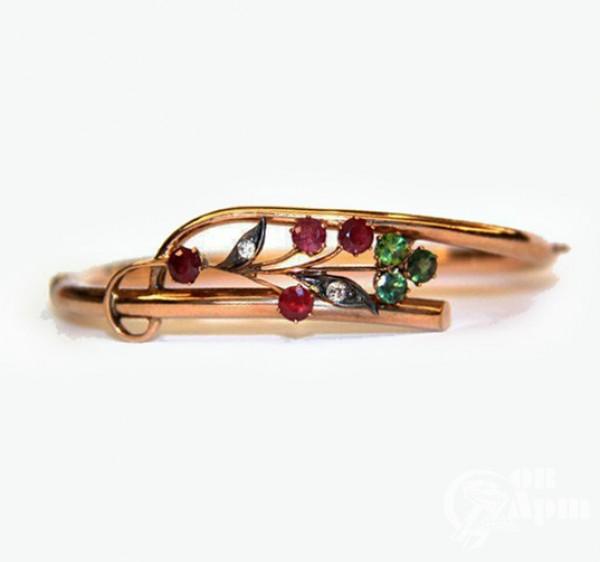 """Браслет """"Веточка"""" с бриллиантами, рубинами и турмалинами"""