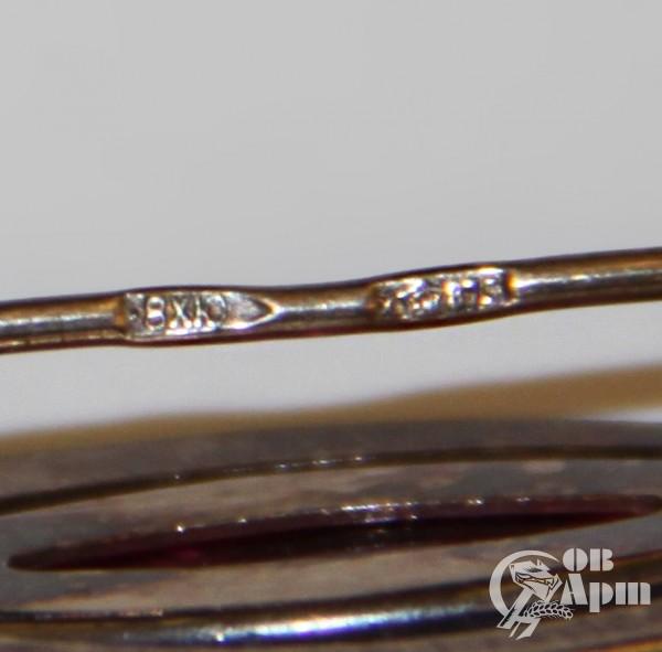 Брошь с выращенным корундом, серебро 875 пр