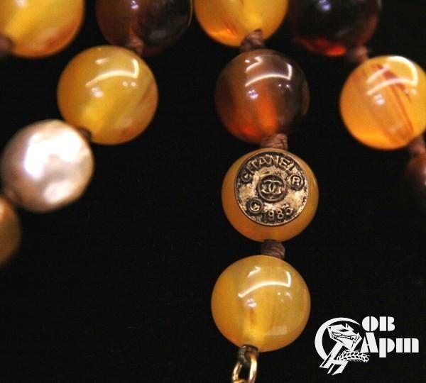 Бусы CHANEL с янтарным и жемчужным Gripoix