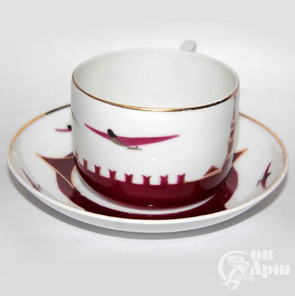 """Чашка с блюдцем из сервиза """"Воздушный парад на Красной площади"""""""