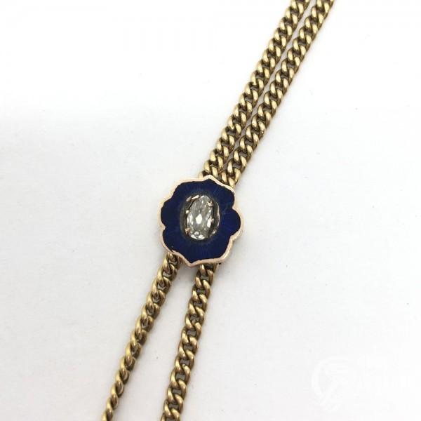 Часы кулон с бриллиантом и цветными вставками на цепи