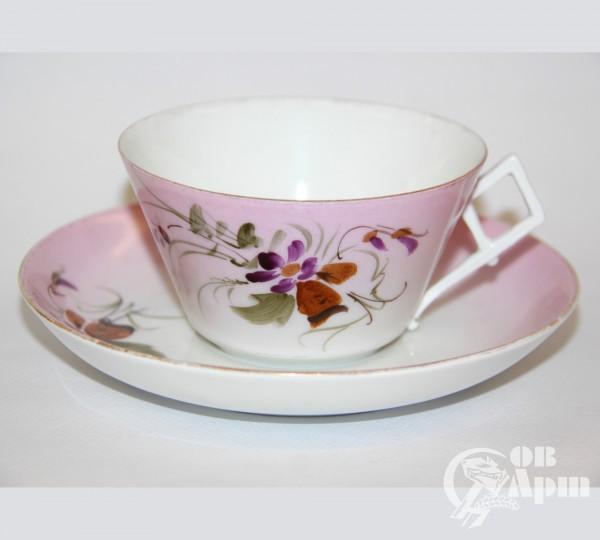 Чайная пара с флористическим узором на розовом фоне ФЗ Кузнецова