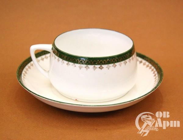 Чайная пара с зеленой каймой