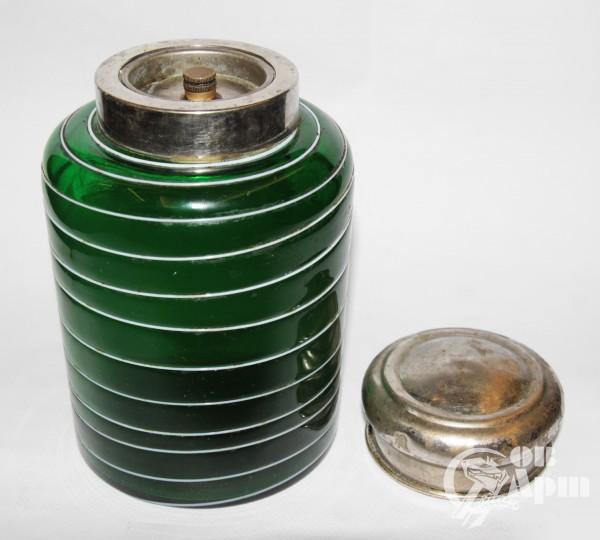 Чайница зеленая с белыми полосками