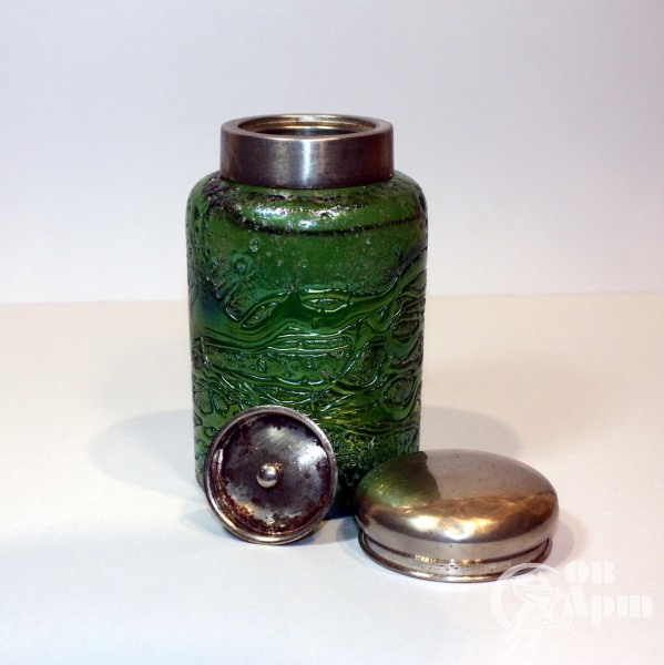 Чайница зеленое стекло