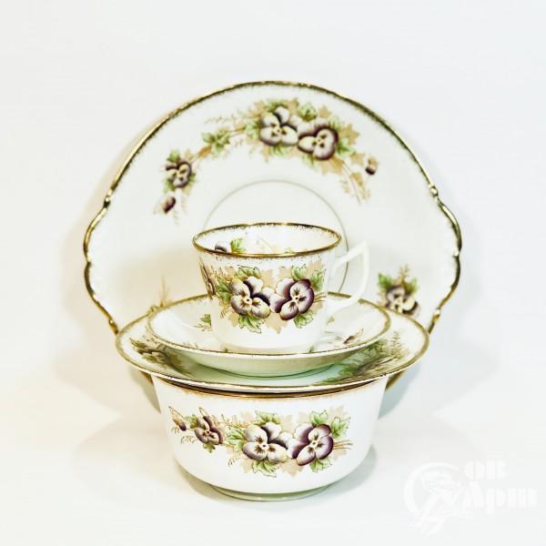 """Набор чайной посуды из английского костяного фарфора""""Фиалки"""""""