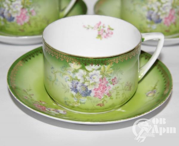 Четыре чайных пары с цветами
