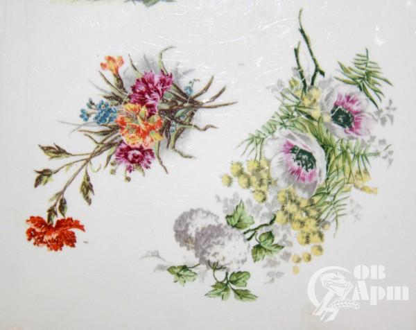 Доска сырная с женским портретом и цветами