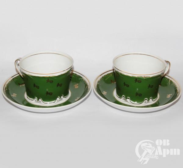 """Две чайные пары """"Цветы на зеленом"""""""