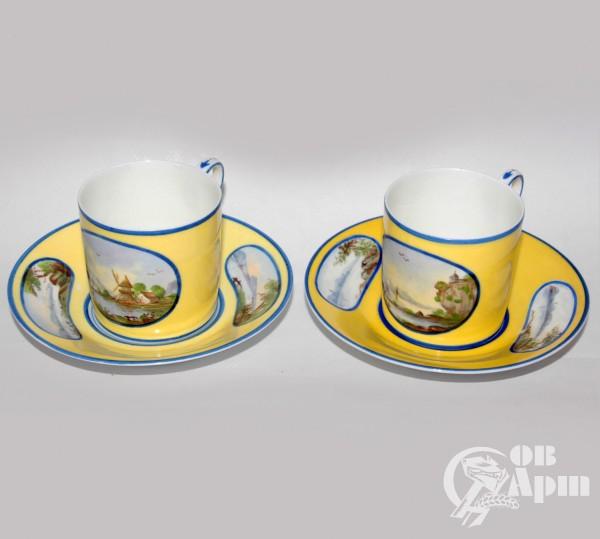 Две кофейные пары с пейзажами