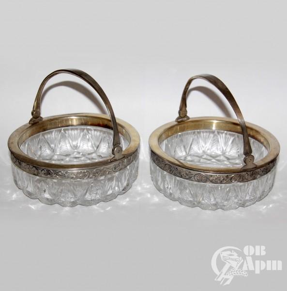 Две конфетницы хрустальные в серебре