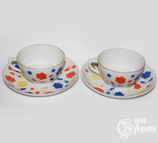 """Две пары чайные """"Цветы"""""""