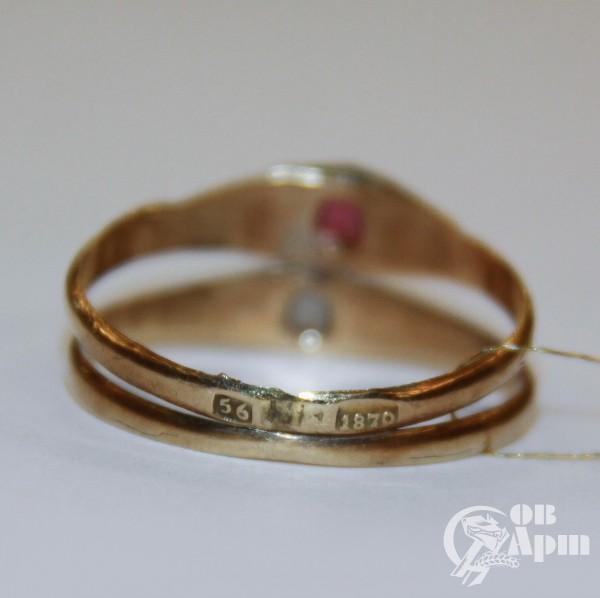 Двойное кольцо с эмалью 1870 г.