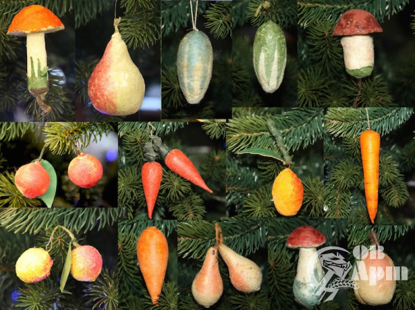 Елочные игрушки ватные в виде ягод, овощей и грибов