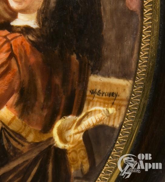 """Фарфоровый пласт """"Рембрандт и его жена Саския"""""""