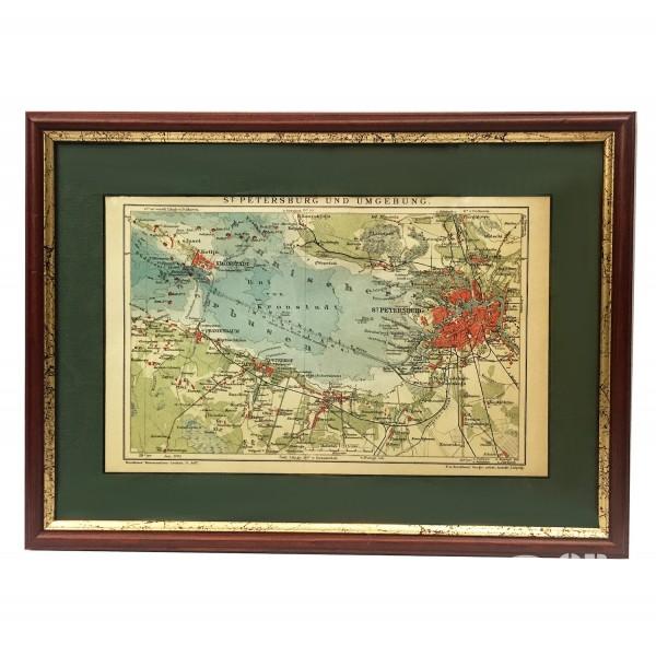 """Гравюра цветная """"Карта Санкт-Петербурга 1905 г."""""""