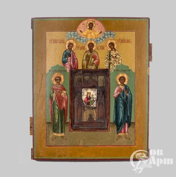 """Икона """"Гурий, Самон и Авив со Святыми"""""""