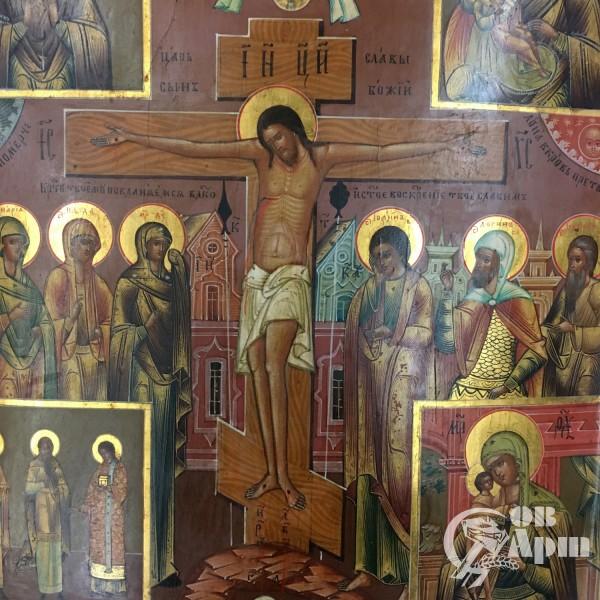 """Икона  """"Распятие Христово с предстоящими"""" и сюжетами икон Пресвятой Богородицы"""