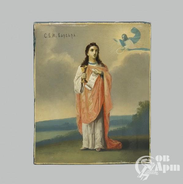 Икона «Святая Варвара» в деревянном киоте
