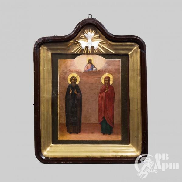 """Икона """"Святой преподобный Василий и святая мученица Анна"""" в киоте"""