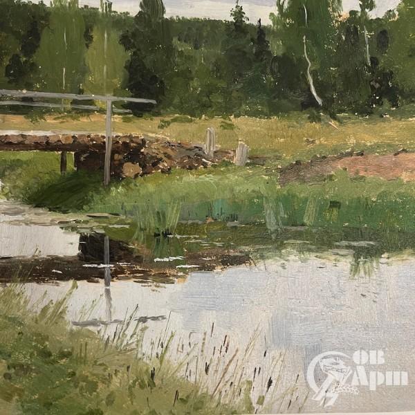 """Картина """" Мост на излучине реки"""" 1896 г."""