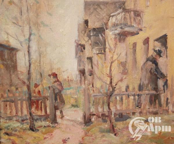"""Картина """"Весенний дворик"""""""