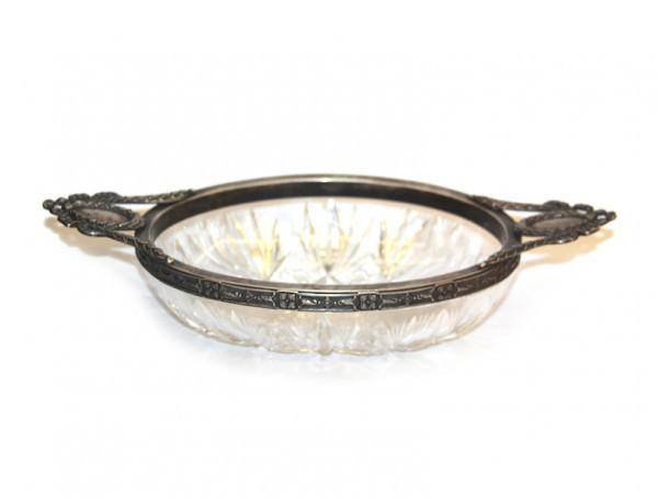 Хрустальная конфетница в серебре