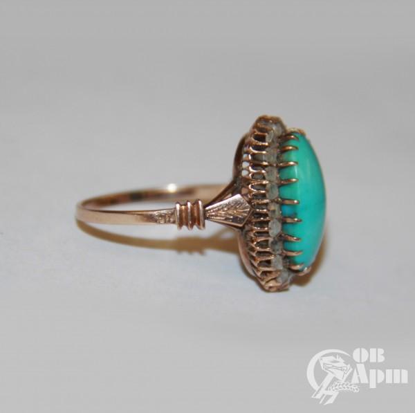 """Кольцо """"Малинка"""" с бирюзой и алмазами"""