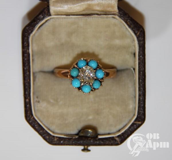 """Кольцо """"Малинка"""" с бирюзой и бриллиантом"""