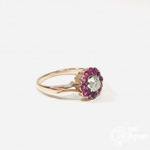 Кольцо «малинка» с бриллиантом и природными рубинами