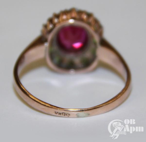 """Кольцо """"Малинка"""" с демантоидами и выращенным рубином"""
