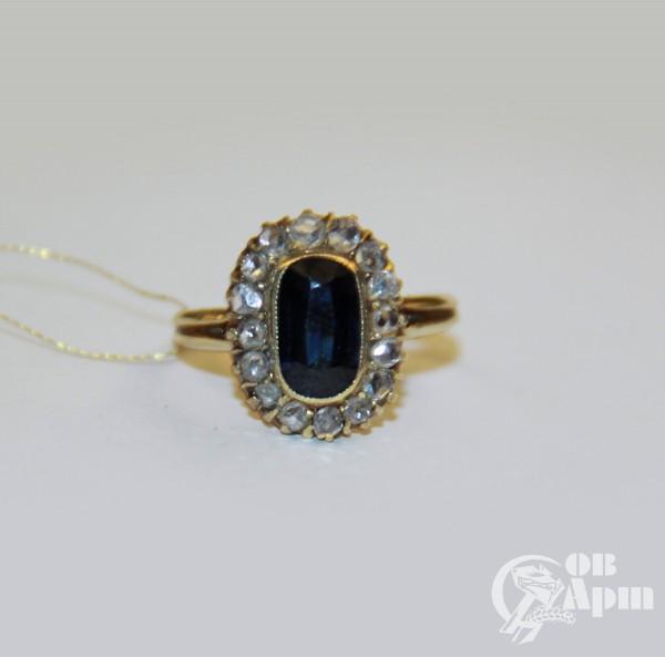 """Кольцо """"Малинка"""" с сапфиром и алмазами"""