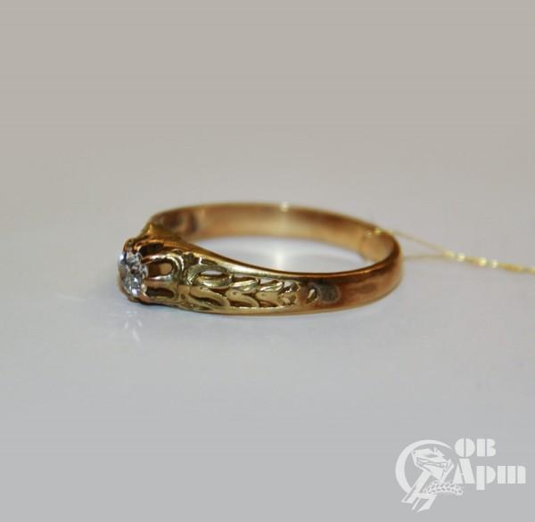 Кольцо мужское с бриллиантом