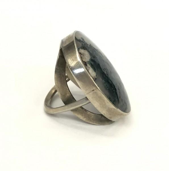 Кольцо с агатом моховым