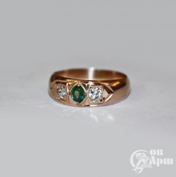 Кольцо с бриллиантами и дуплетом