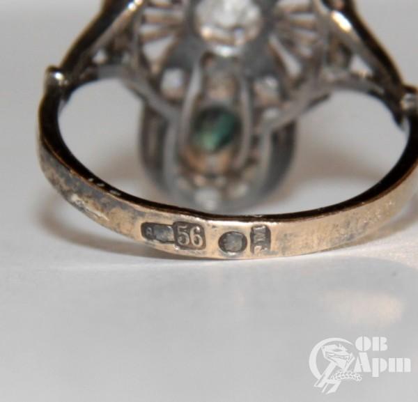 Кольцо с бриллиантами и александритами