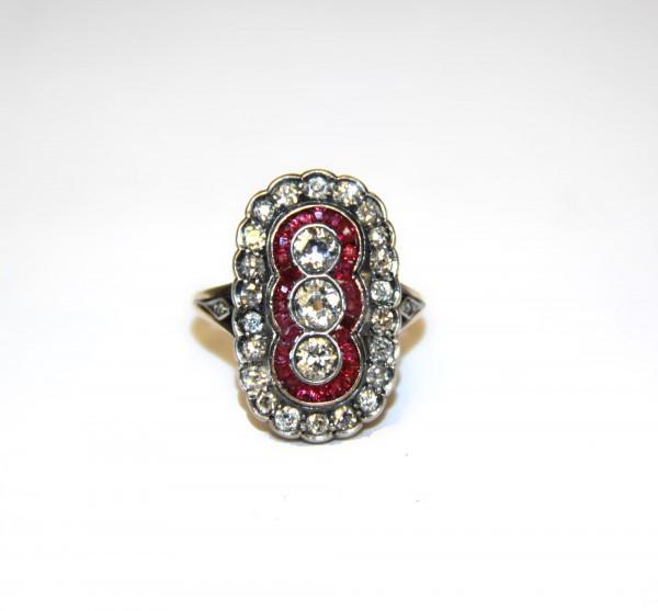 Кольцо с бриллиантами и рубинами