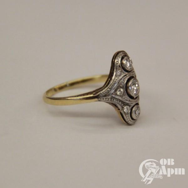 Кольцо с бриллиантами в стиле ар-деко