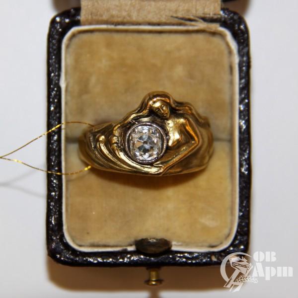 Кольцо в стиле модерн с изображением женской фигуры