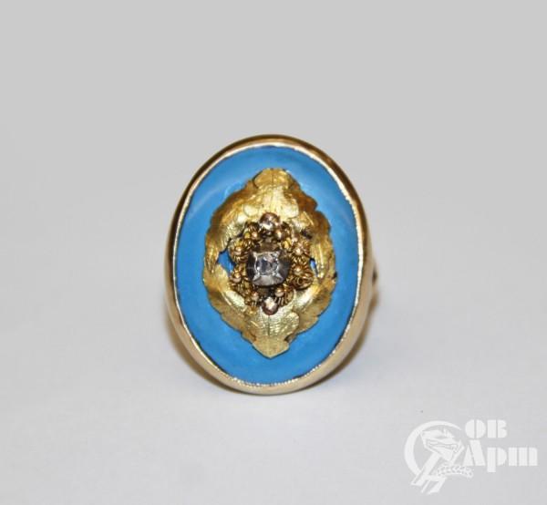 Кольцо с голубой эмалью и алмазом