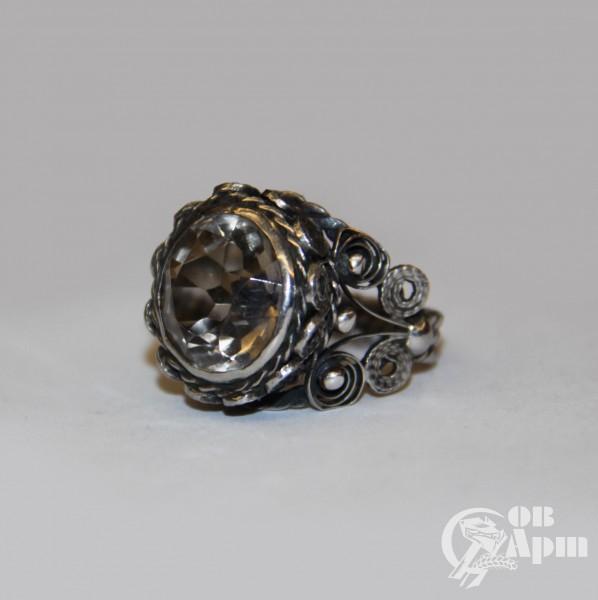 Кольцо с раухтопазом, мельхиор