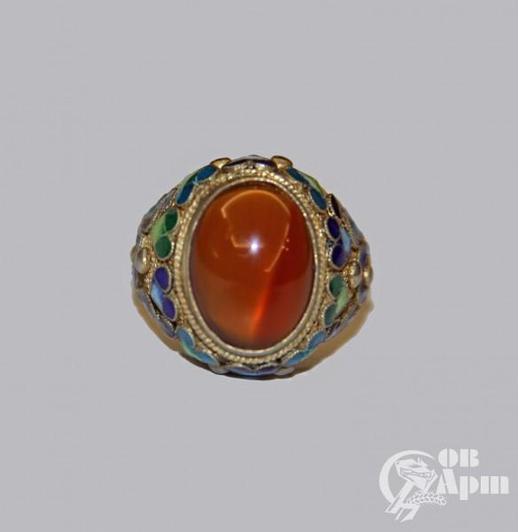 Кольцо с сердоликом и эмалью