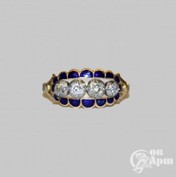 Кольцо с синей эмалью и бриллиантами