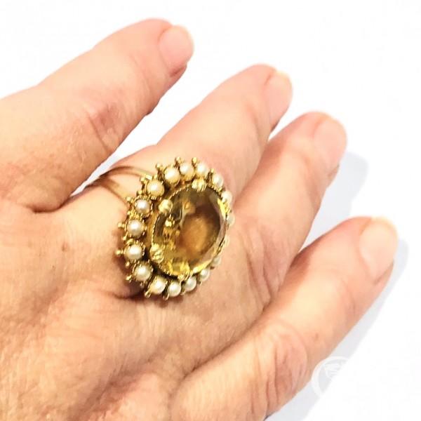 Кольцо с цитрином и жемчугом