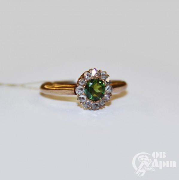 Кольцо с турмалином и алмазами